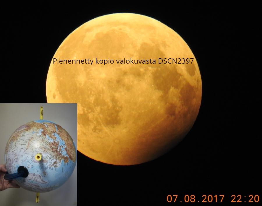 Epäuskottava kuunpimennyksen näkymä heliosentrismissa.